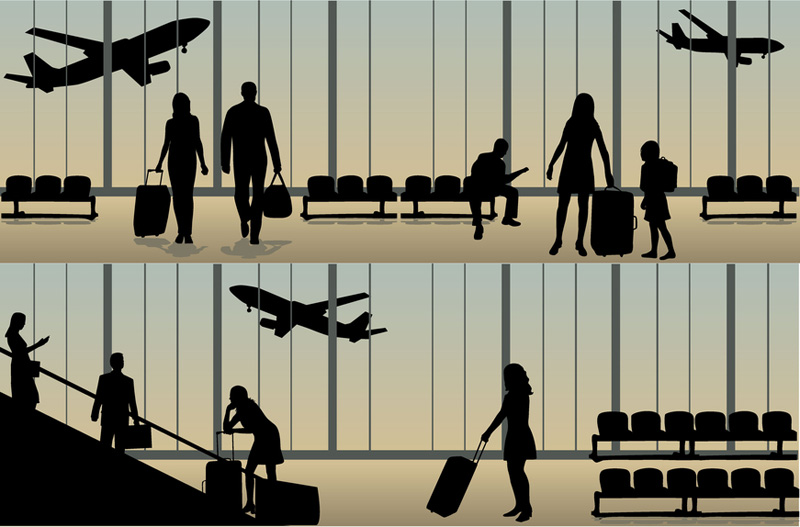 Clipart - airport with infographic elements